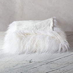 mongolian sheepskin white throw