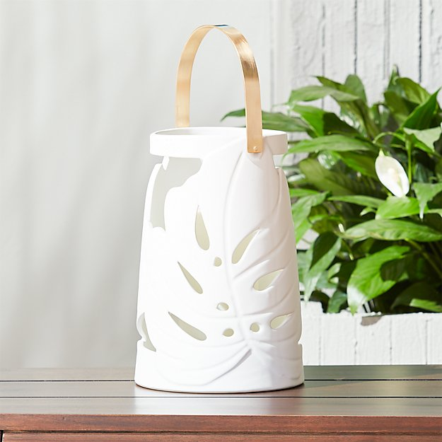 monstera large white leaf lantern