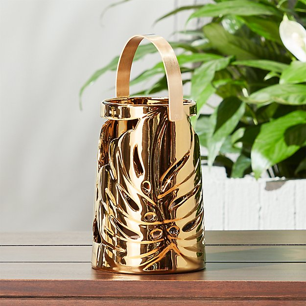 monstera small gold leaf lantern