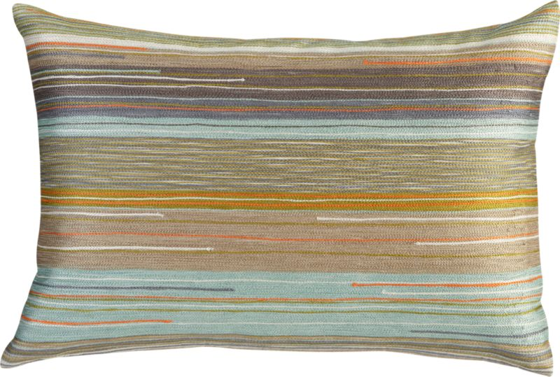 """multi-colored embroidered 18""""x12"""" pillow with feather-down insert"""