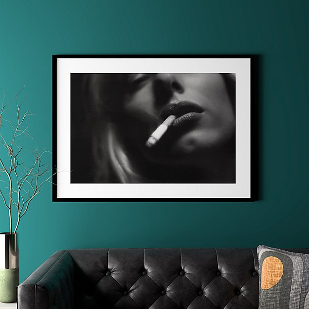 "a smoke with black frame 41.5""x30.25"""