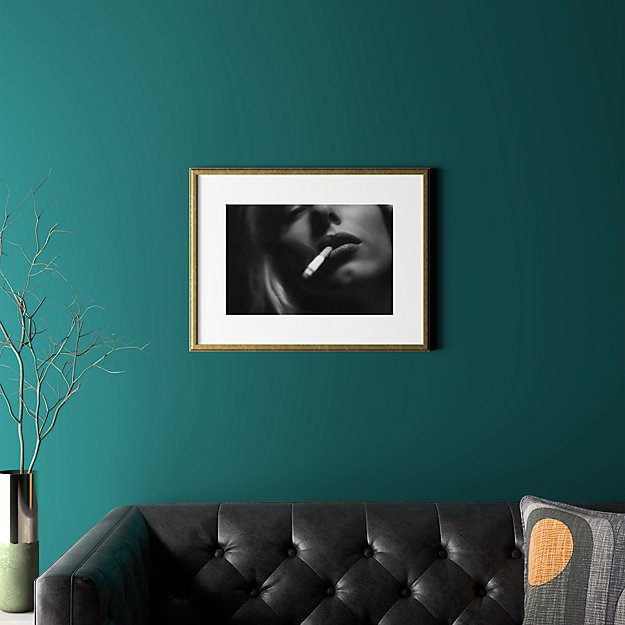 """a smoke with gold frame 24.5""""x18.75"""""""