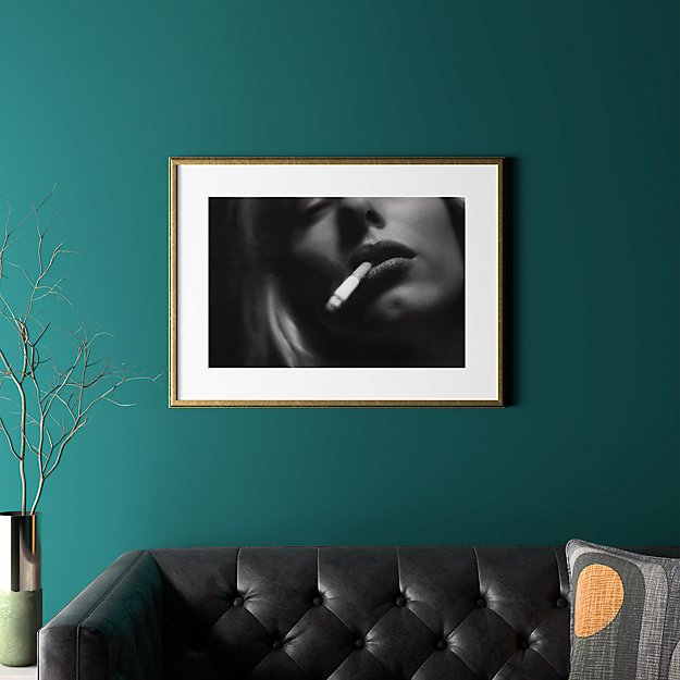 """a smoke with gold frame 31.5""""x23.5"""""""