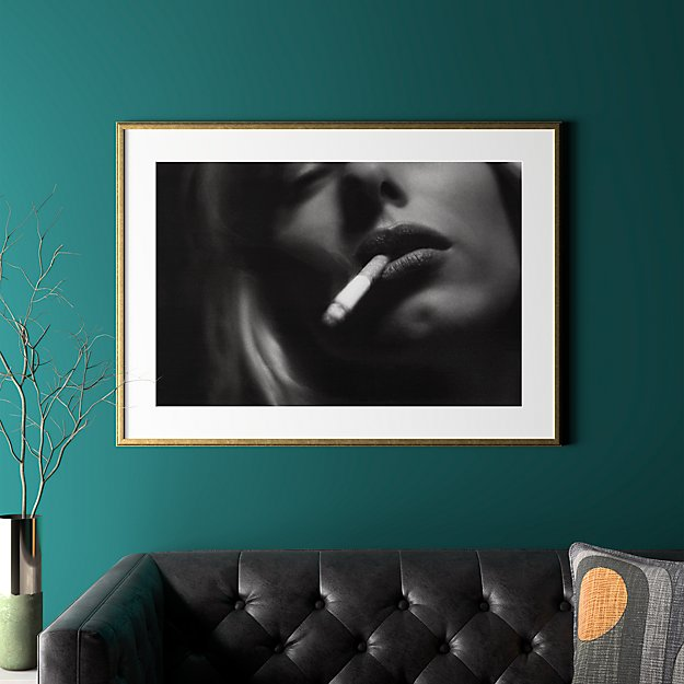 """a smoke with gold frame 41.5""""x30.25"""""""