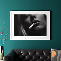 "a smoke with white frame 41.5""x30.25"""