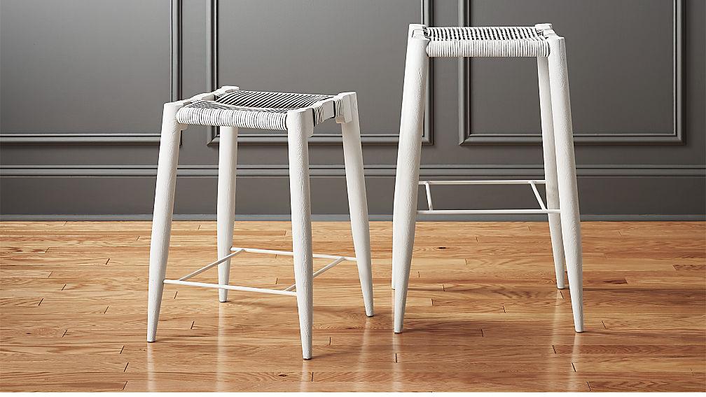 White Leather Barstools nahla white leather bar stools | cb2