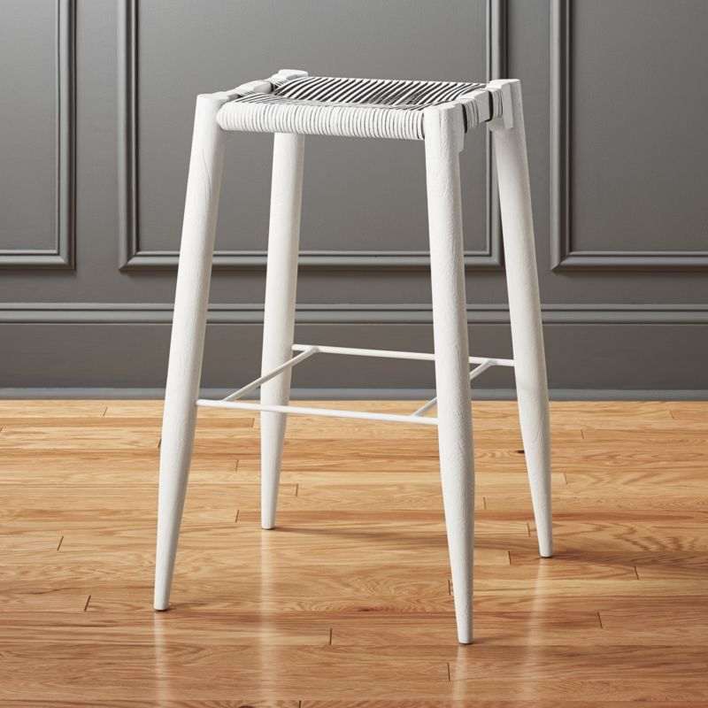 Nahla White Leather Bar Stool 30  & modern leather bar stools | CB2 islam-shia.org