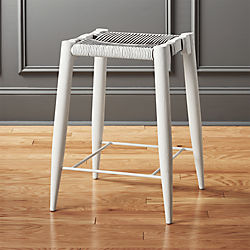 Nahla White Leather Counter Stool 24""