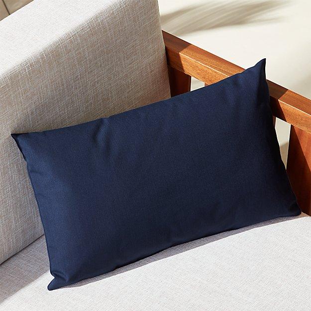 "20""x12"" navy outdoor pillow"