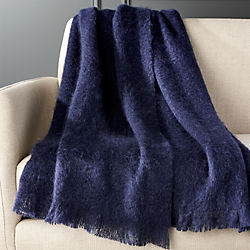 Navy Blue Mohair Throw