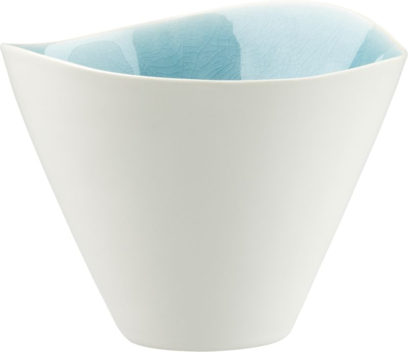 """<span class=""""copyHeader"""">new wave.</span> Organic shape layers as oceanic ripple in ultra durable stoneware. Bright blue crackled glaze interior shines, hi-gloss white exterior outlines freeform rim. Reactive glazes render each piece unique.<br /><br /><NEWTAG/><ul><li>Stoneware</li><li>Hi-gloss white exterior</li><li>Bright blue interior with reactive crackle glaze</li><li>Each piece is unique</li><li>Dishwasher- and microwave-safe</li></ul>"""