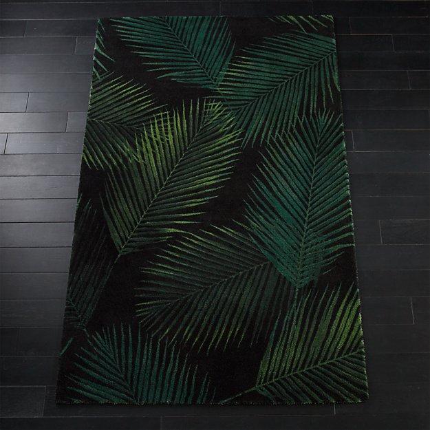 Night Palms Black Rug