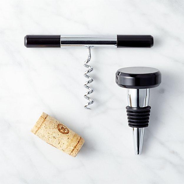 2-Piece Nod Bottle Stopper and Corkscrew Set
