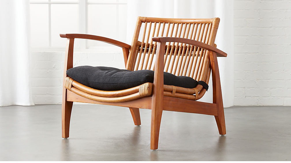 Noelie Rattan Lounge Chair With Cushion In Accent Chairs