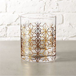 nouveau gold double old-fashioned glass