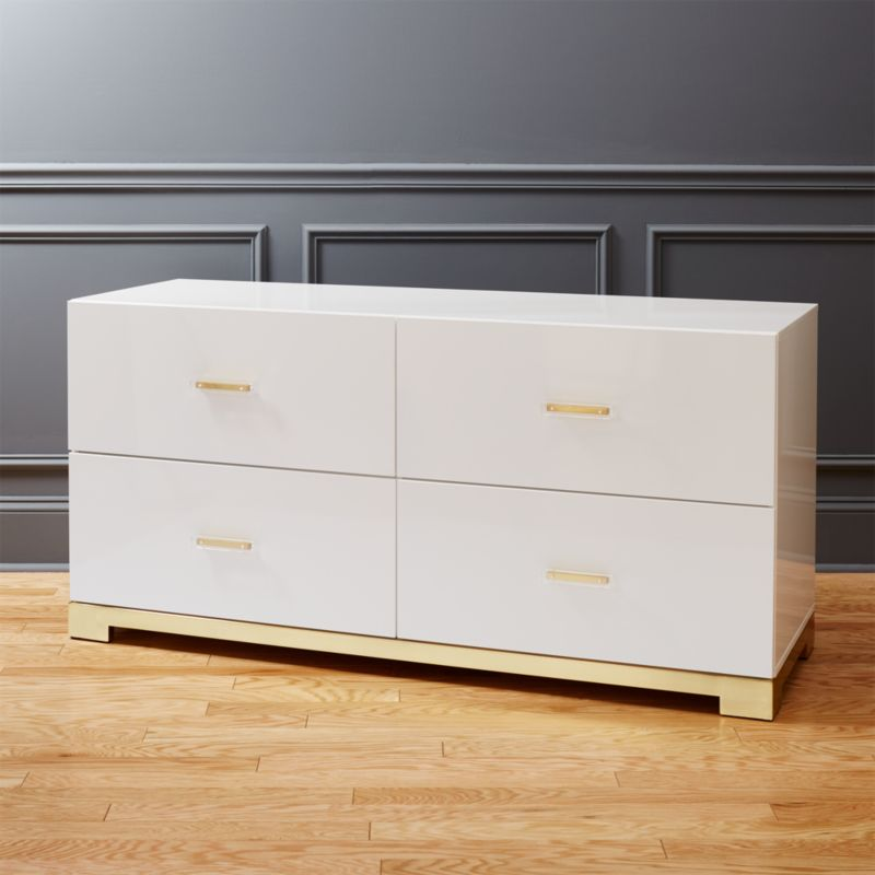 odessa low white gloss dresser. modern dressers and chests of drawers   CB2