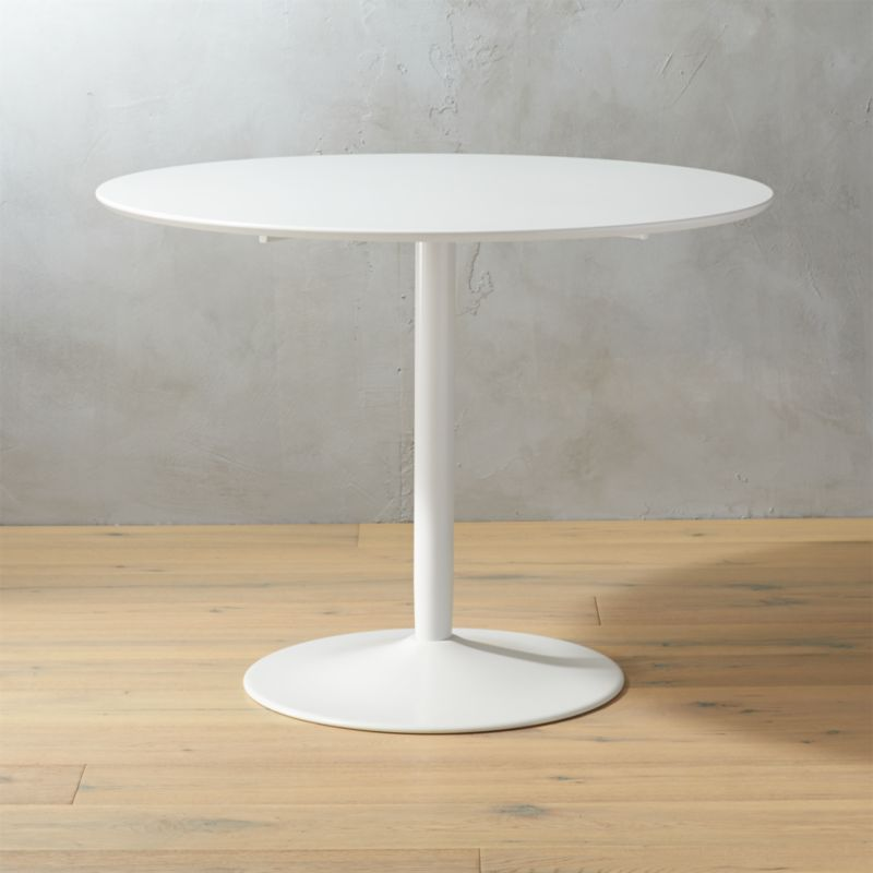 Odyssey white tulip dining table cb2 Small white dining table