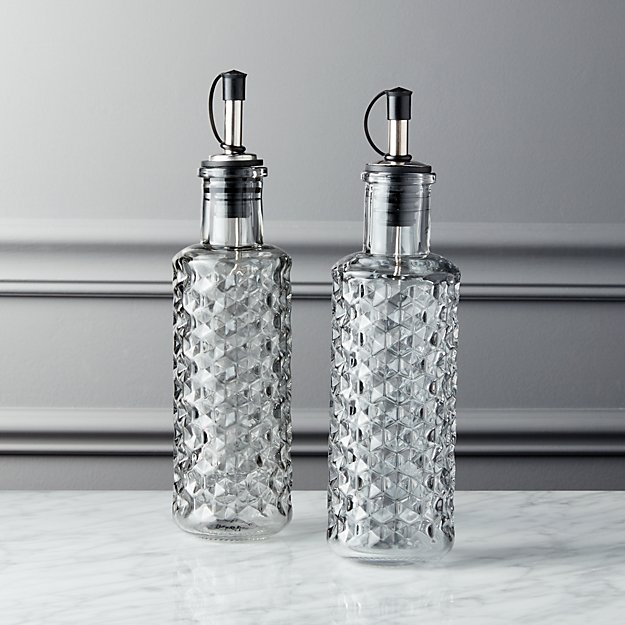 Glass Oil and Vinegar Cruet Set of 2