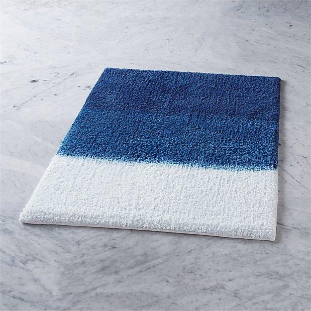 ombre blue bath mat