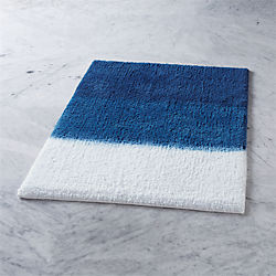 ombre blue bath mat
