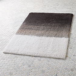 Modern Bath Mats CB - Black and white tweed bath rug for bathroom decorating ideas
