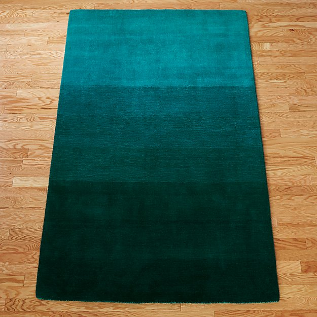 Ombre Teal Rug Cb2