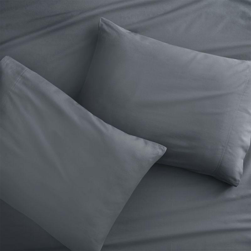 standard organic grey percale pillowcases set of 2