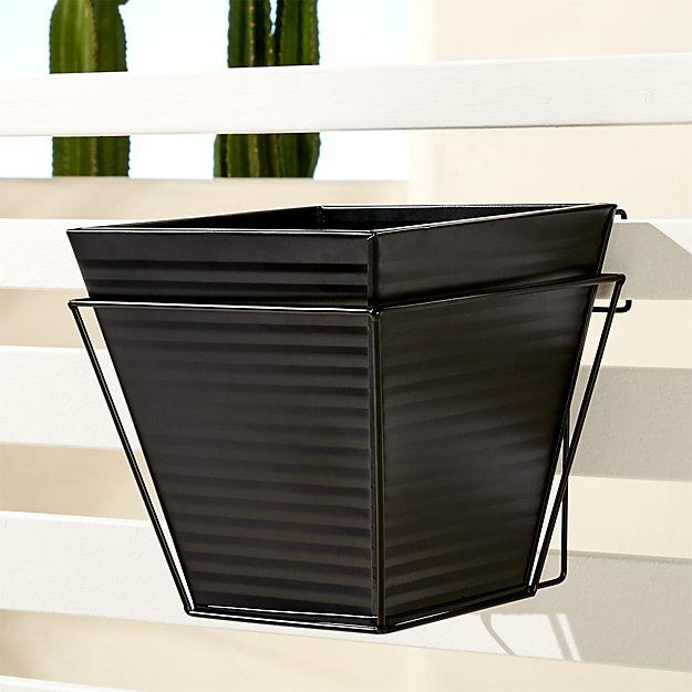 oscar babe matte black rail planter and rail frame