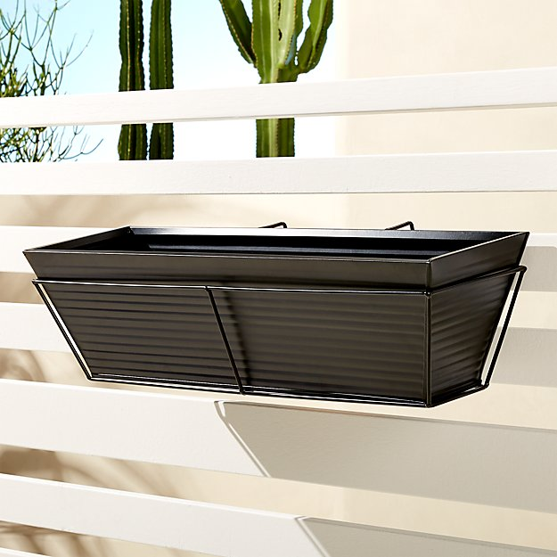 oscar matte black rectangular rail planter and rail frame