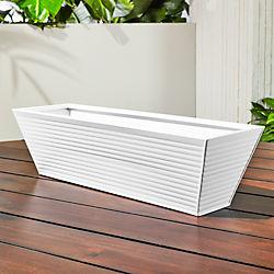 oscar hi-gloss white rectangular rail planter
