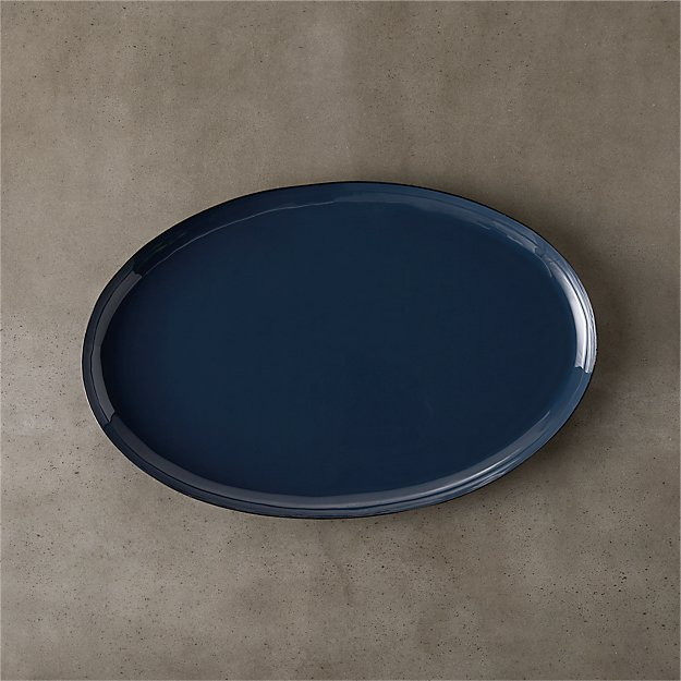 enamel oval blue large tray