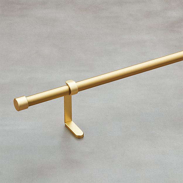 "Brushed Brass .75"" Curtain Rod Set"