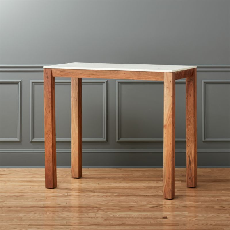 . palate high marble top dining table   CB2