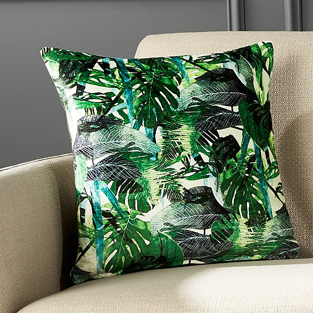 "16"" Green Palm Leaf Pillow with Feather-Down Insert"
