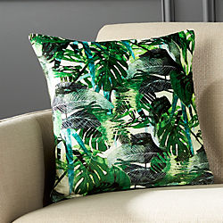 "16"" Green Palm Leaf Pillow with Down-Alternative Insert"