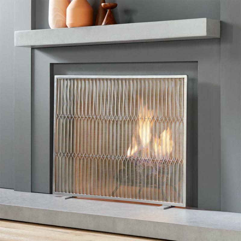 Fireplace Design baby proof fireplace screen : panes mesh fireplace screen | CB2