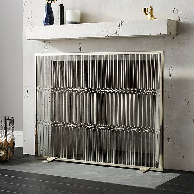 Panes Stainless Steel Fireplace Screen Reviews Cb2