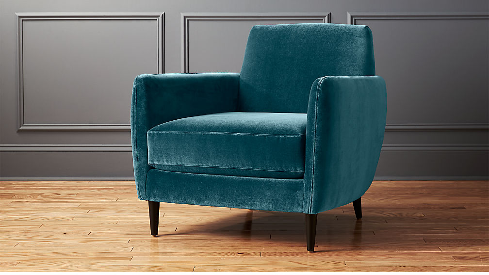 Parlour Light Blue Velvet Chair Reviews Cb2