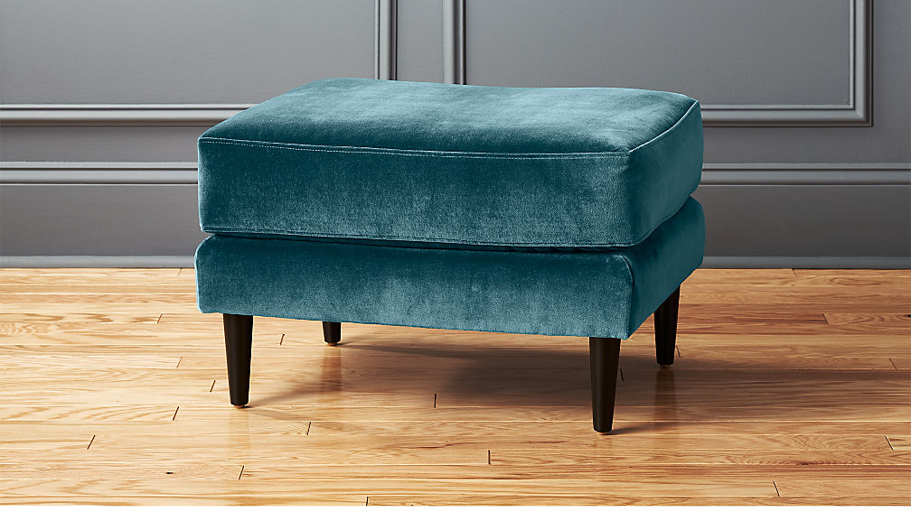 Parlour cyan blue ottoman reviews cb2 for Ottoman to sit on