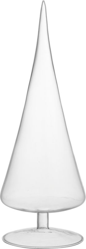 """<span class=""""copy Header"""">evergleam.</span> Clear cone trims a modern, minimalist holiday. Handmade of ultra-durable beaker glass, abstract tree peaks at nearly a foot from point to pedestal. Go for a modern forest with Paz Glass trees in copper, silver, clear and white.<br /><br /><NEWTAG/><ul><li>Handmade</li><li>Beaker glass</li><li>Wipe with a soft, dry cloth</li></ul><br /><br /><br />"""