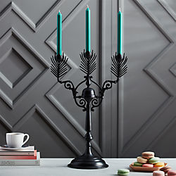 peacock black candelabra