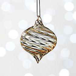 Iridescent Amber Swirled Ornament