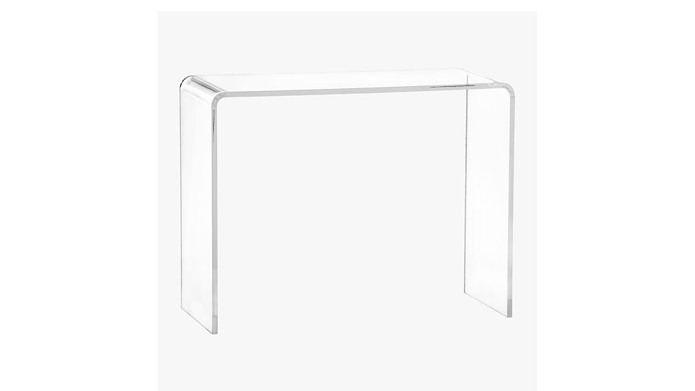 peekaboo 38 acrylic console table cb2. Black Bedroom Furniture Sets. Home Design Ideas