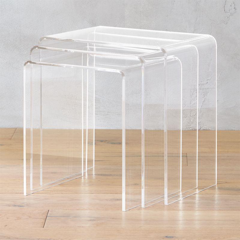 3 Piece Peekaboo Acrylic Nesting Table Set Reviews Cb2
