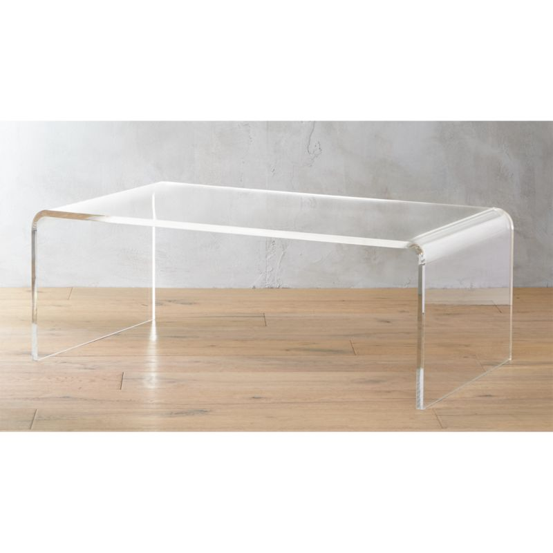 peekaboo acrylic tall coffee tableCB2