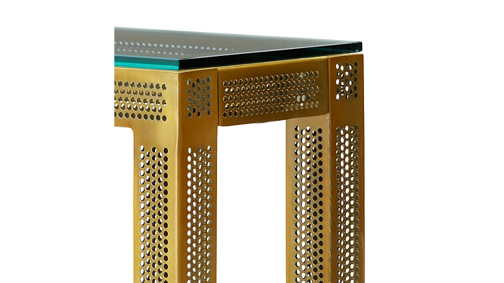 perforated glass console table