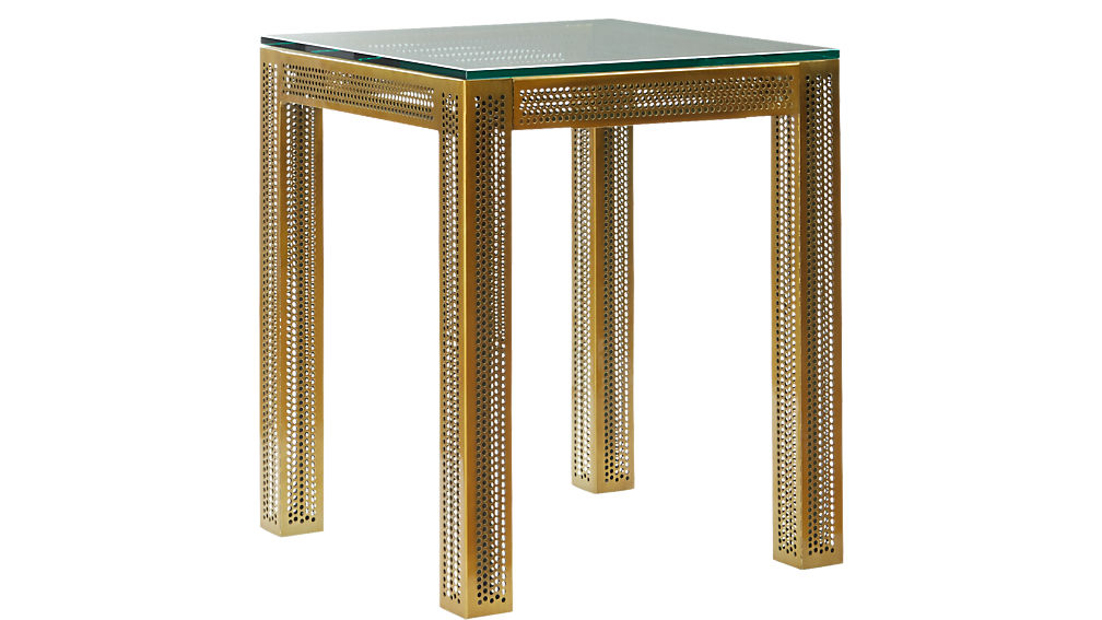 perforated glass side table