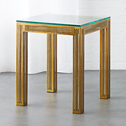 Perforated Black Marble Side Table In Side Tables