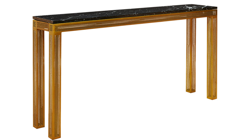 Perforated Marble Console Table Cb2
