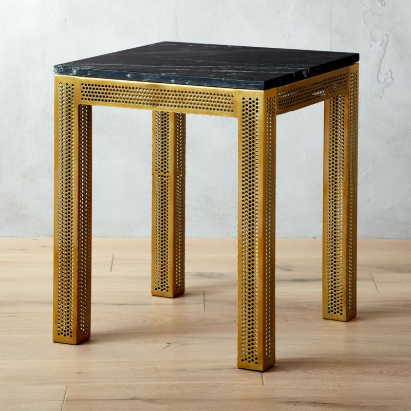 Superb Perforated Black Marble Side Table
